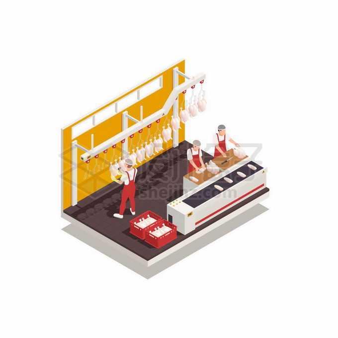 2.5D风格肉联厂鸡肉加工厂食品工厂生产流水线2123044矢量图片免抠素材免费下载