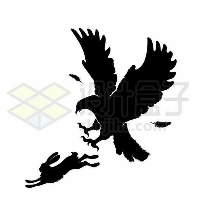 老鹰抓兔子剪影1051101矢量图片免抠素材免费下载