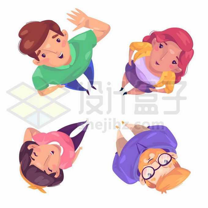4个卡通人物微笑着抬头仰望天空姿势6653292矢量图片免抠素材免费下载