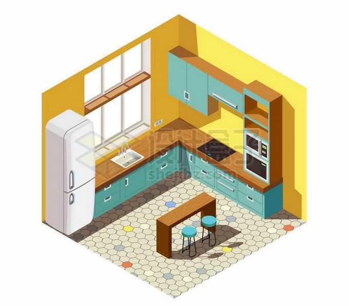 2.5D风格黄色墙面的开放式厨房和餐桌装修效果图7871157矢量图片免抠素材免费下载