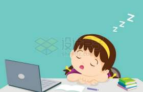 卡通女孩学习累了趴在桌子上睡觉打瞌睡9756378矢量图片免抠素材免费下载
