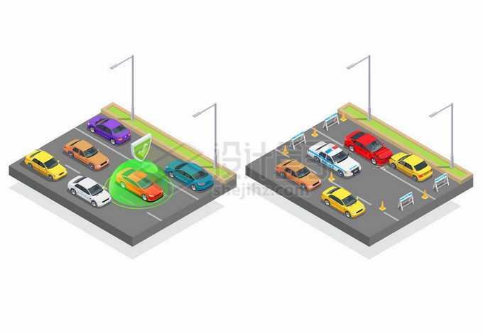 2.5D风格通畅的道路和出现车祸事故的道路8373786矢量图片免抠素材免费下载