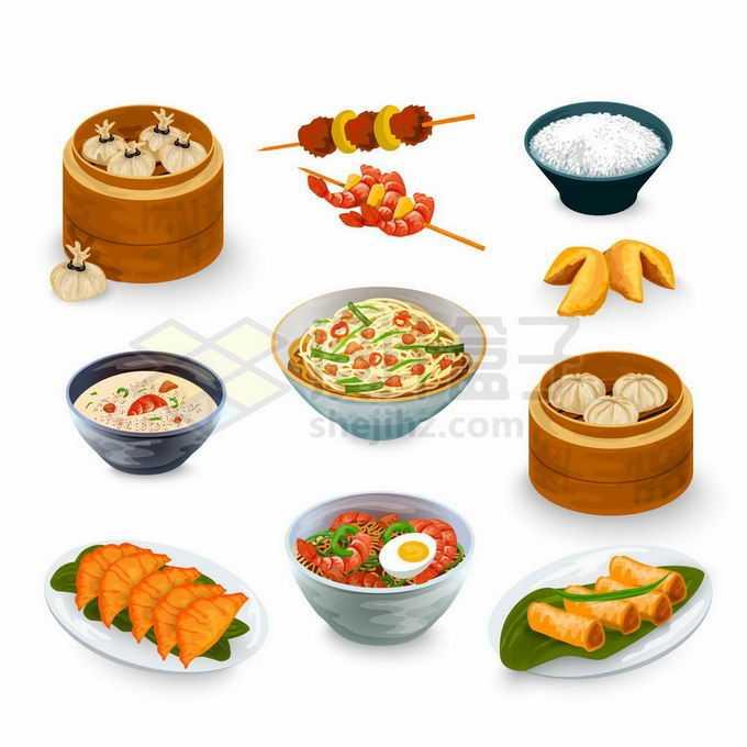 美味的包子烧麦烤串生煎饺子面条春卷等美味美食6635652矢量图片免抠素材免费下载