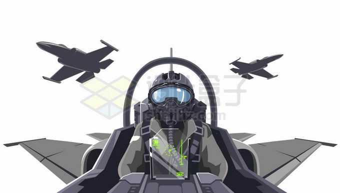 战斗机飞行员视角伴飞的僚机漫画插画4876118矢量图片免抠素材免费下载
