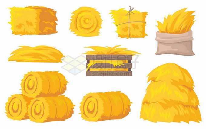 各种金黄色的草垛草堆稻草2716504矢量图片免抠素材免费下载
