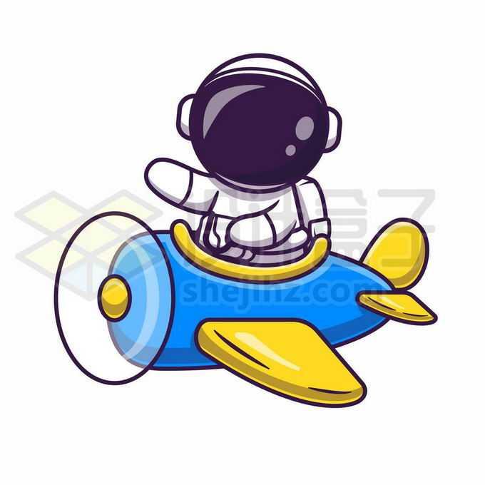 卡通宇航员乘坐小飞机3856113矢量图片免抠素材免费下载
