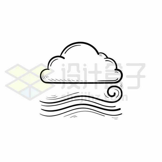 云朵大风天气预报图标手绘线条插画8261874矢量图片免抠素材免费下载