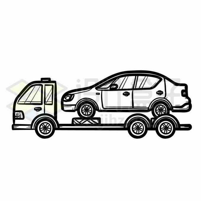 拖车上的小汽车手绘线条插画7168846矢量图片免抠素材免费下载