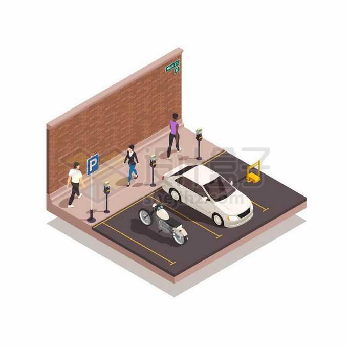 2.5D风格靠墙的停车位和行人7577763矢量图片免抠素材免费下载