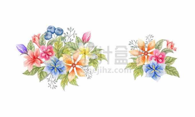 2款水彩画风格的花朵和果实3156106矢量图片免抠素材免费下载