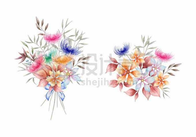 2款水彩画风格的花朵和叶子装饰7871998矢量图片免抠素材免费下载