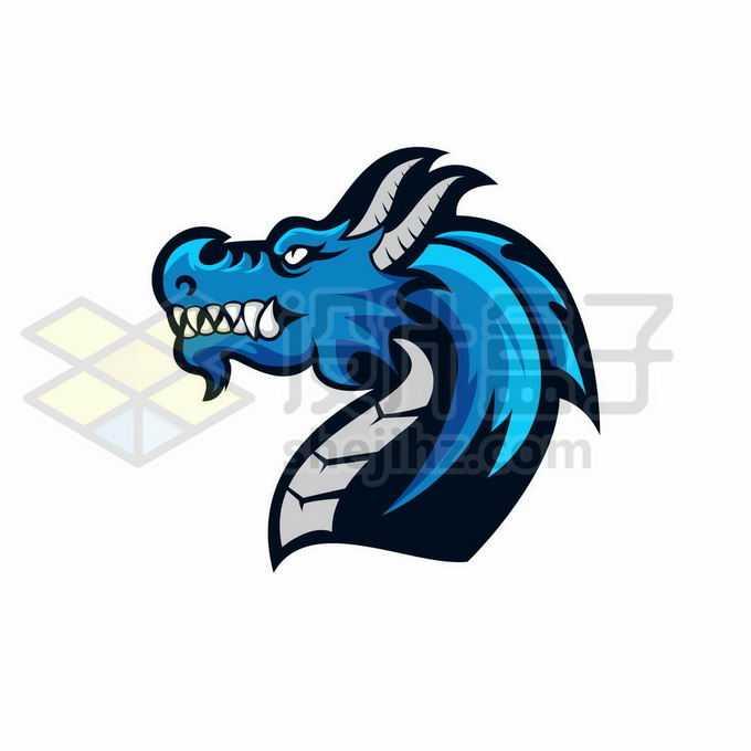 蓝色的中国龙巨龙头部logo设计方案2506265矢量图片免抠素材免费下载