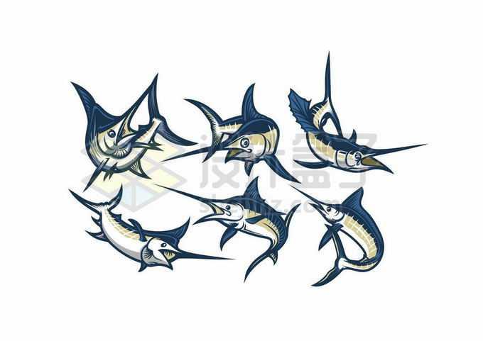 6款剑鱼旗鱼海洋鱼类插画6329041矢量图片免抠素材免费下载