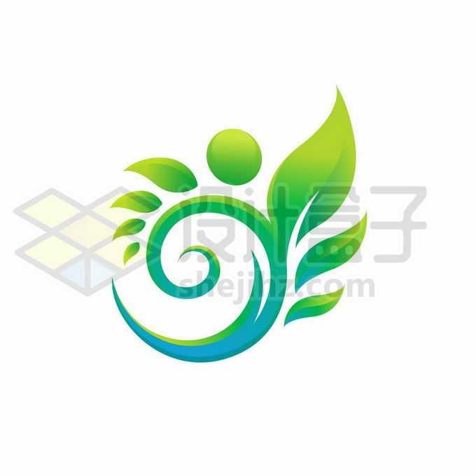 创意绿色树叶变形的螺旋线logo设计方案6388976矢量图片免抠素材免费下载