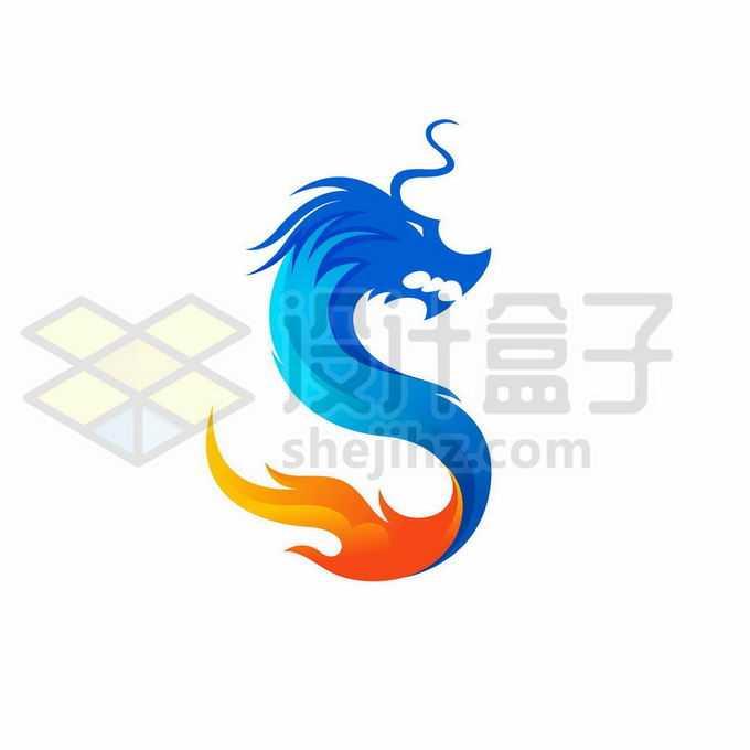 蓝色和红色组成的中国龙巨龙创意logo设计方案1961265矢量图片免抠素材免费下载