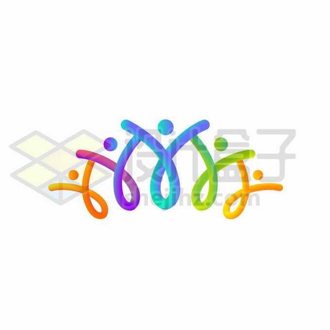 渐变色彩色线条和圆点组成的抽象小人儿创意logo设计方案2721746矢量图片免抠素材免费下载