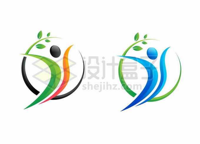 2种配色的卡通小人儿和树叶装饰创意抽象logo设计方案3657163矢量图片免抠素材免费下载