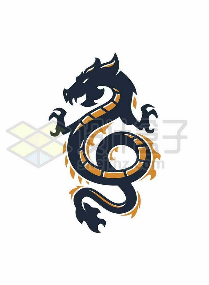 一条黑色橙色的中国龙巨龙创意logo设计方案7637854矢量图片免抠素材免费下载