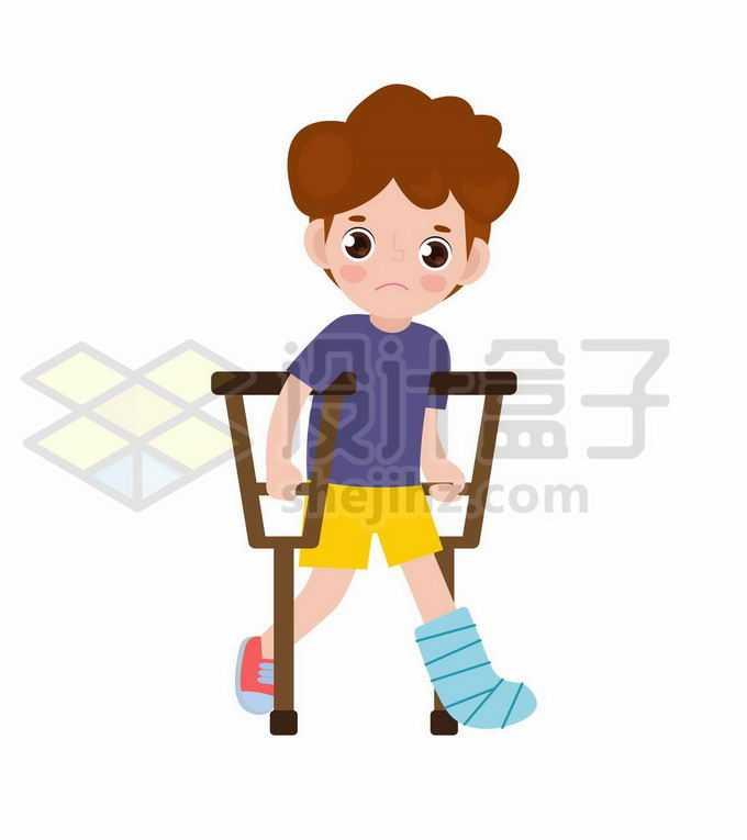 卡通小男孩拄着拐杖腿受伤了3996566矢量图片免抠素材免费下载