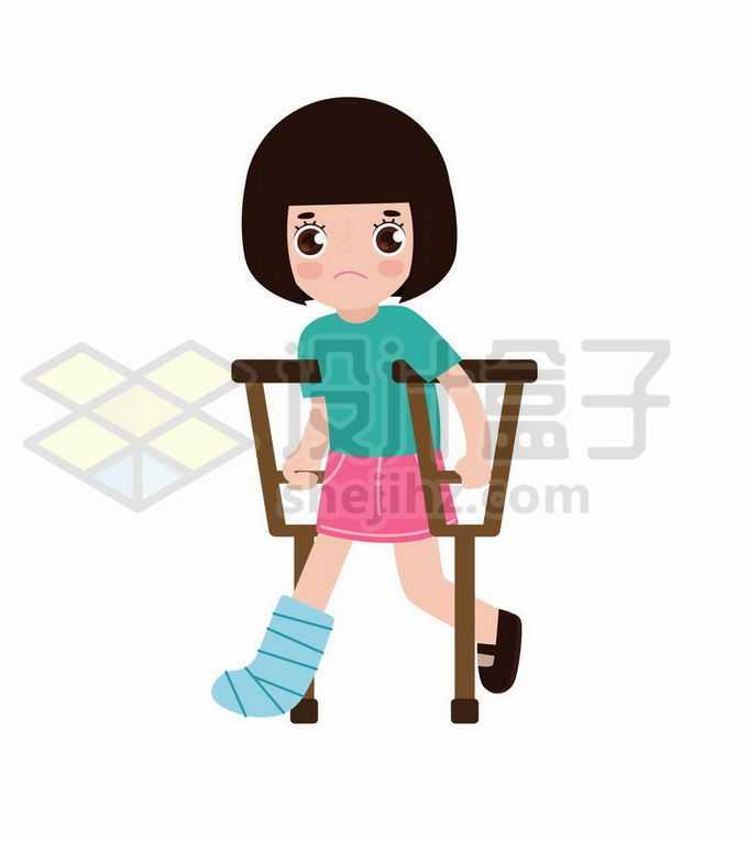 卡通小女孩拄着拐杖腿受伤了2135817矢量图片免抠素材免费下载
