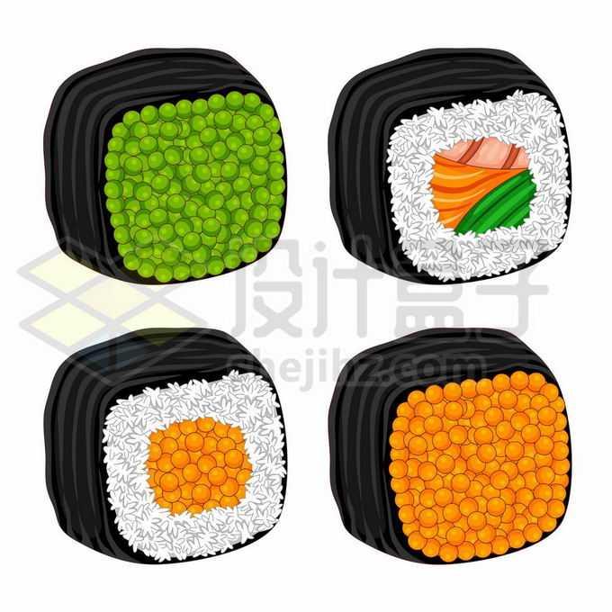 4款卡通风格的紫菜寿司卷日式料理美食7144035矢量图片免抠素材免费下载