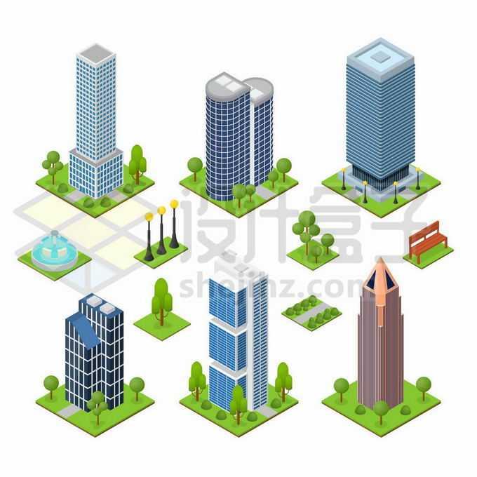 6款2.5D风格高楼大厦城市建筑写字楼2629859矢量图片免抠素材免费下载