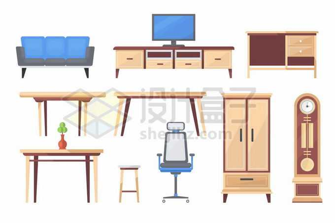 扁平化风格沙发电视柜餐桌高脚凳转椅橱柜等家具4300149矢量图片免抠素材免费下载