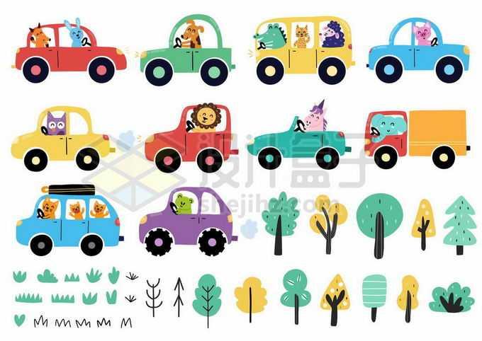 各种卡通小动物开着汽车和树木儿童画插画6180684矢量图片免抠素材免费下载