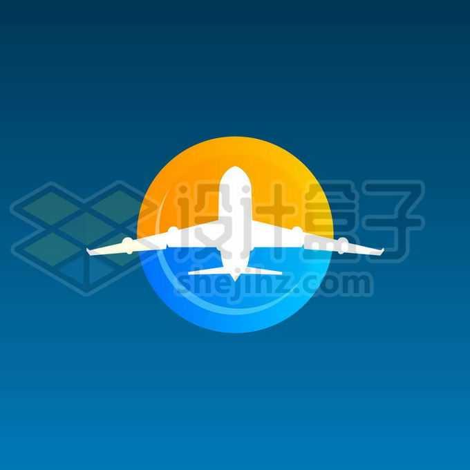 圆形太阳和海洋以及飞机旅行社旅游类logo设计方案9190579矢量图片免抠素材免费下载