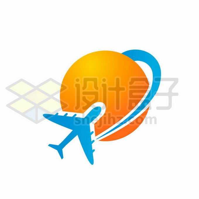 圆形橙色的太阳和蓝色飞机旅行社旅游类logo设计方案2992895矢量图片免抠素材免费下载