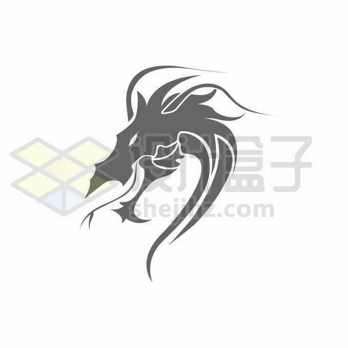 灰色中国龙巨龙的龙头图案创意logo设计方案3991687矢量图片免抠素材免费下载