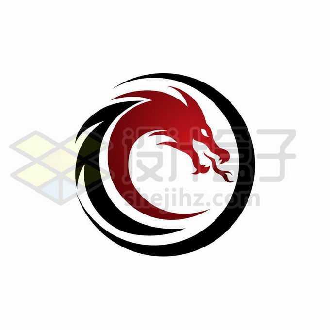 红色黑色中国龙巨龙组成的圆形创意logo设计方案2360961矢量图片免抠素材免费下载