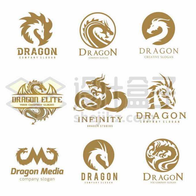 9款金色中国龙西方龙巨龙创意logo设计方案4111747矢量图片免抠素材免费下载