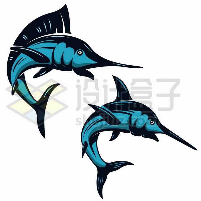 2条蓝色的旗鱼和剑鱼海洋鱼类手绘插画8330917矢量图片免抠素材免费下载