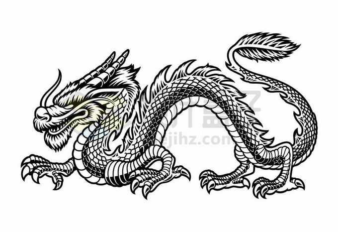 一条威严的中国龙巨龙黑白色手绘插画2591503矢量图片免抠素材免费下载
