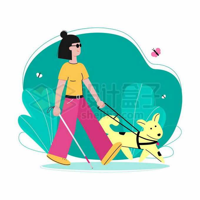 卡通盲人牵着导盲犬散步手绘插画9003675矢量图片免抠素材免费下载