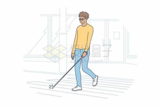 拿着盲杖的盲人视觉障碍者手绘线条插画8718199矢量图片免抠素材免费下载