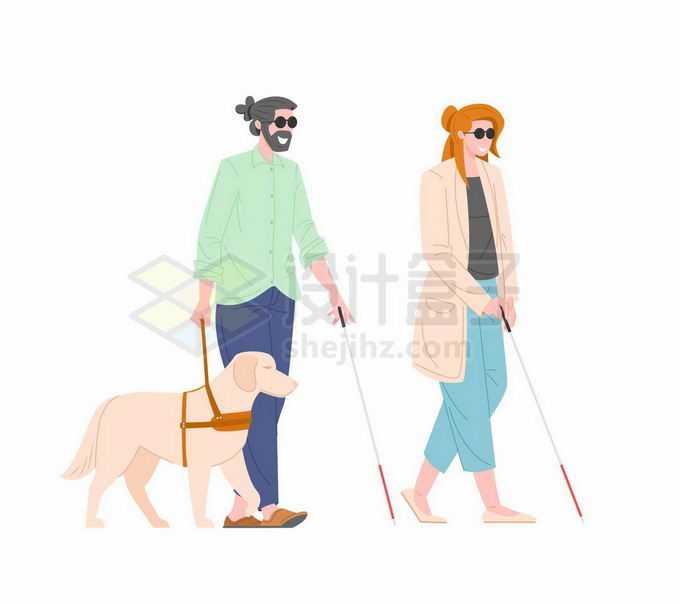 2个牵着导盲犬拿着盲杖的盲人视觉障碍者插画7481155矢量图片免抠素材免费下载