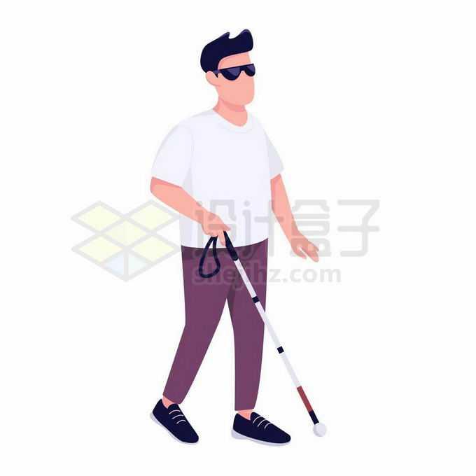戴着墨镜拿着盲杖的卡通盲人视觉障碍者9786952矢量图片免抠素材免费下载