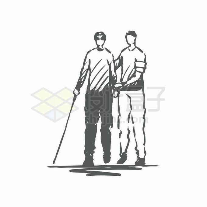 搀扶盲人视觉障碍者过马路手绘插画4060104矢量图片免抠素材免费下载