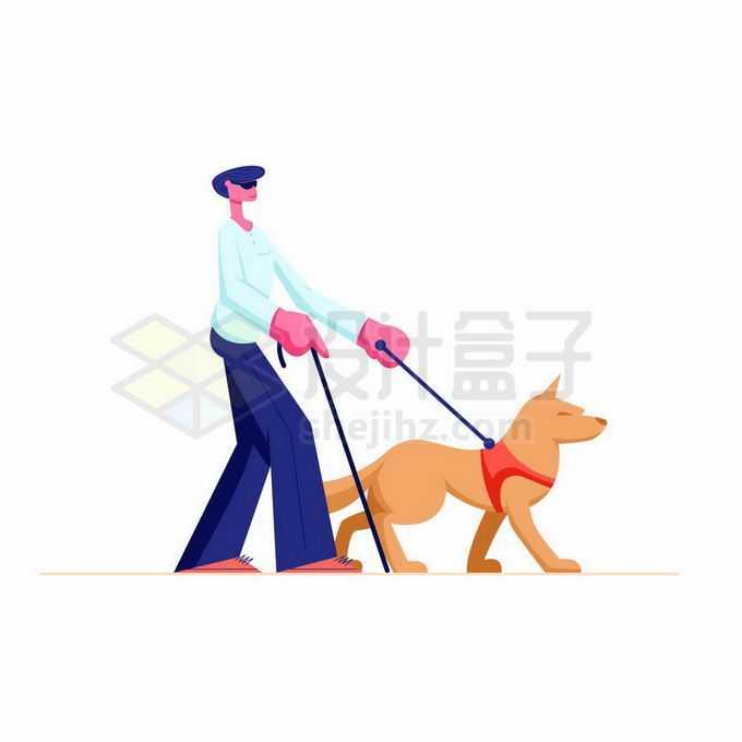 牵着导盲犬拿着盲杖的卡通盲人视觉障碍者插画4341206矢量图片免抠素材免费下载