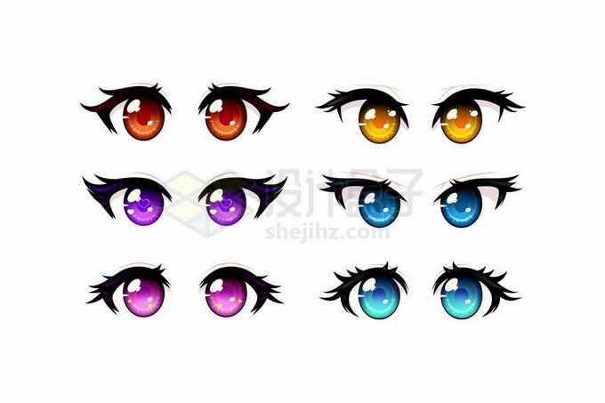 6款不同颜色的二次元卡通人物眼睛5298022矢量图片免抠素材免费下载
