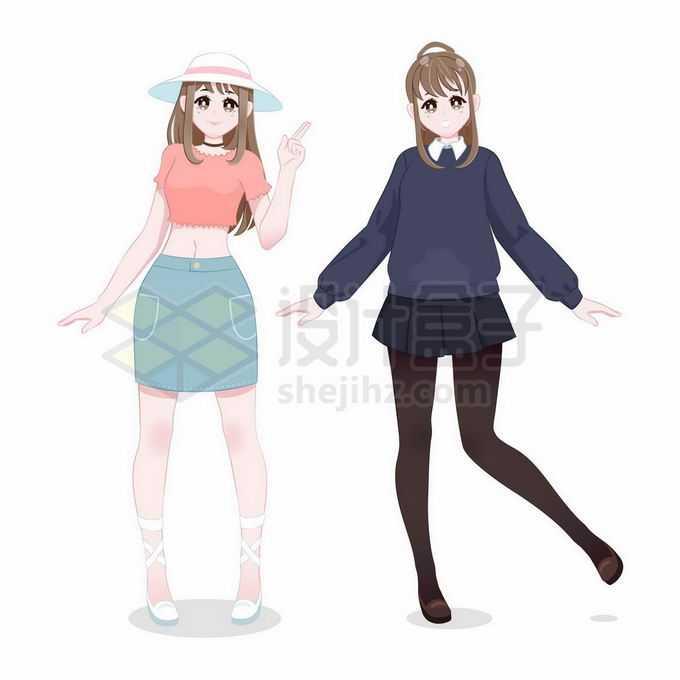 2款短裙黑丝二次元卡通女孩5079138矢量图片免抠素材免费下载