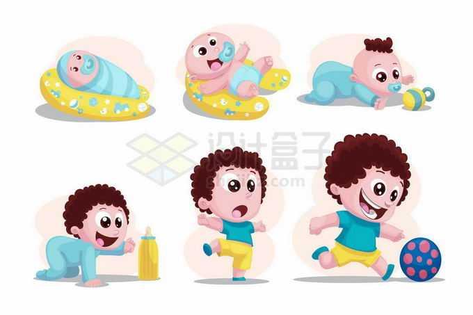 卡通男宝宝从婴儿到会跑会跑成长过程7153969矢量图片免抠素材免费下载