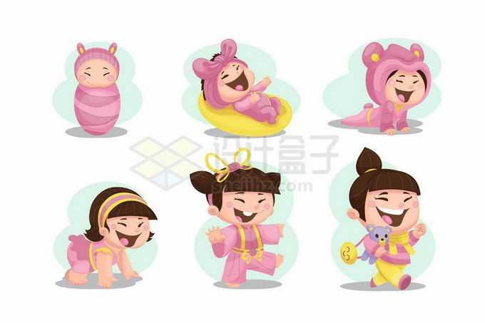 卡通女宝宝从婴儿到会跑会跑成长过程8318788矢量图片免抠素材免费下载