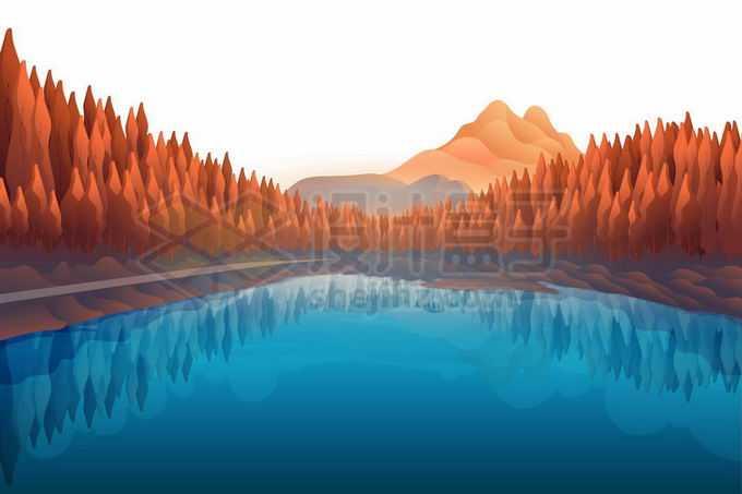 远处红色的高山和秋天变黄的森林以及近处的蓝色水面湖面风景插画4618003矢量图片免抠素材免费下载