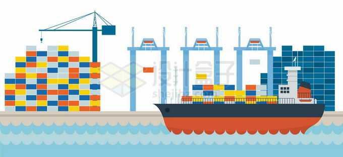 扁平化风格港口码头上的集装箱货轮4491357矢量图片免抠素材免费下载