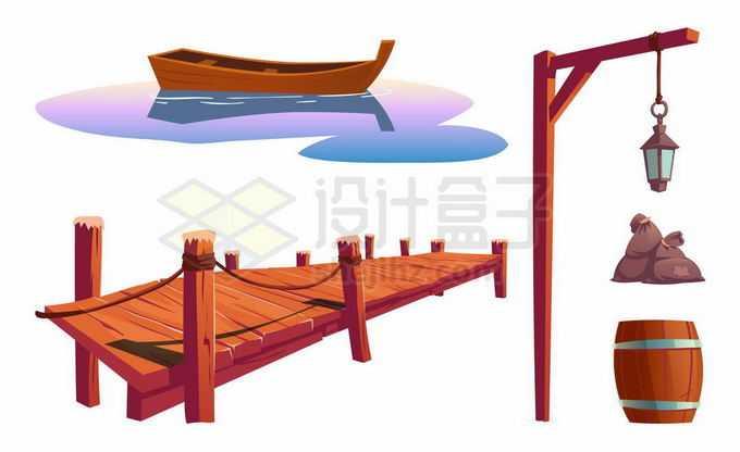 卡通漫画风格小木船复古木头码头8068595矢量图片免抠素材免费下载