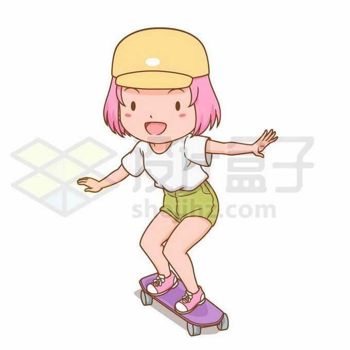 可爱的卡通女孩正在玩滑板8847934矢量图片免抠素材免费下载