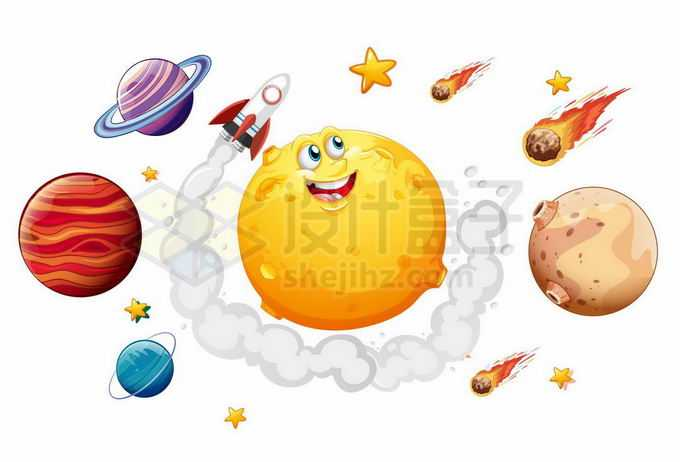 卡通星球木星土星火星陨石和火箭宇宙探索插画6126706矢量图片免抠素材免费下载